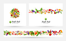 Vegetables Banners And Elements For Menu Design, Packaging Or Organic Food Store Labels