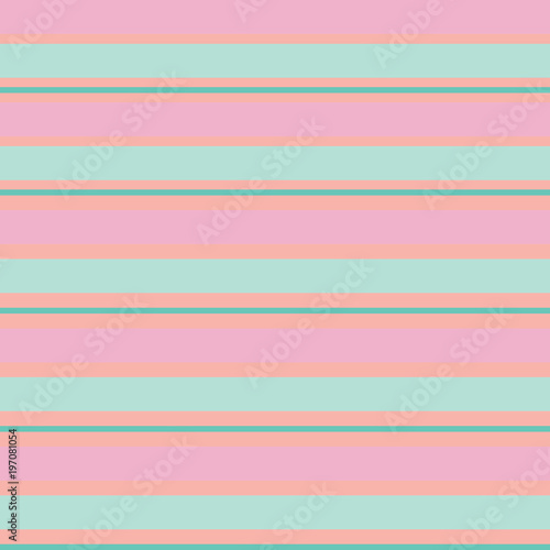 Cotton fabric Seamless vector striped spring pattern with colored horizontal parallel stripes in pink, green, mint. Colorful pastel orange background.