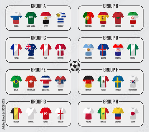 Soccer cup 2018 team group set . Football players with jersey uniform and national  flags . Vector for international world championship tournament d3ee68fcb