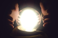 Fortune Teller Reading Future With Crystal Ball. Seance Concept.