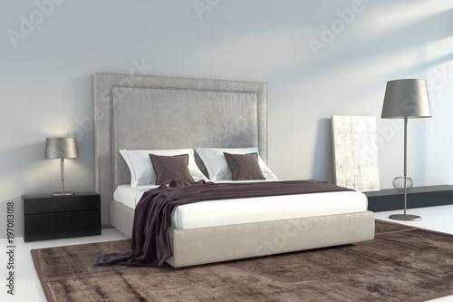 Modern grey bedroom with brown carpet – kaufen Sie diese ...