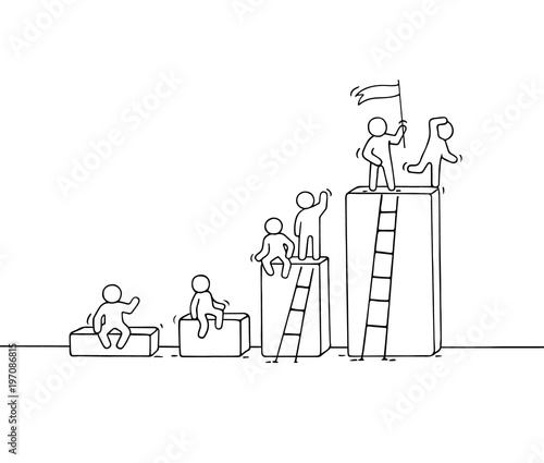 Fototapety, obrazy: Cartoon diagramm with working little people.
