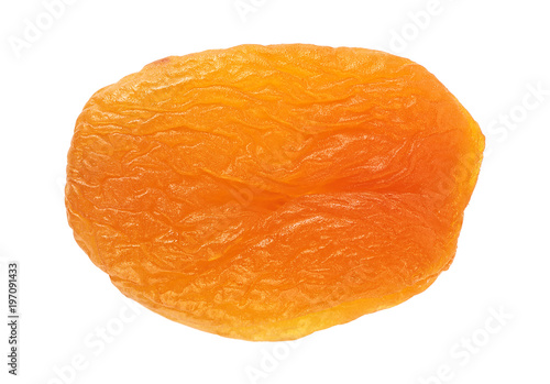 Dried apricot isolated on a white background, closeup. Top view.