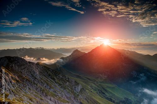 Fototapeta Dawn in the mountains with fog obraz na płótnie