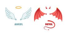 Nobody Angel And Devil Suit. Innocent And Mischief Vector Symbols