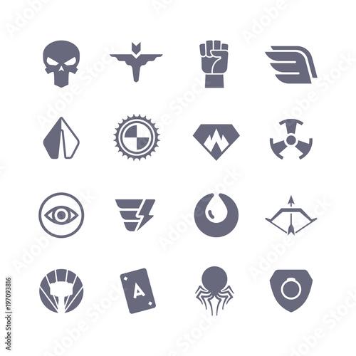 Obraz na plátně Superheroes vector icons. Super power superhero heroic symbols