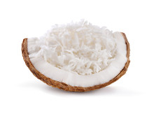 Coconut With Coconut Flakes Isolated On White Background.
