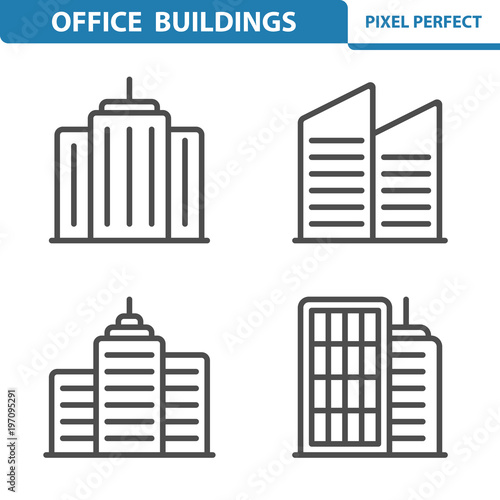 Fototapeta Office Buildings Icons. Professional, pixel perfect icons depicting various office buildings and skyscrapers concepts. EPS 8 format obraz