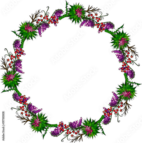painted wreath of burdock flowers, mouse peas Poster Mural XXL