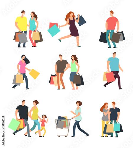 Fotografie, Obraz  Happy shopping people