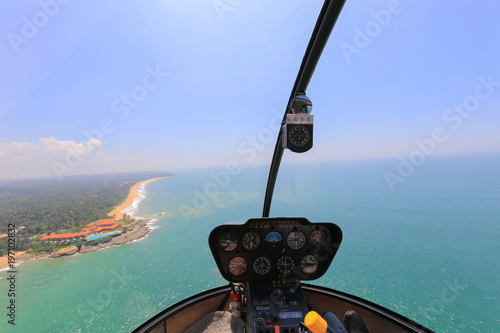Helicopter Robinson R44 inside view