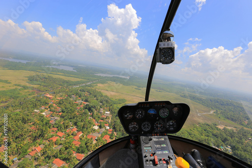 Helicopter inside view. Helicopter Robinson R44