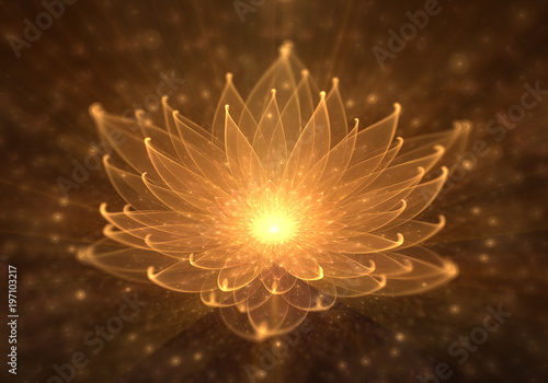 Foto Water Lily, Radiant Orange Lotus with Rays of Light