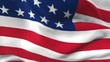 Seamless 3d animation of the American flag waving in the wind