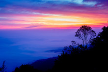 Sunrise At Samer Dao Mountain At Nan, Thailand