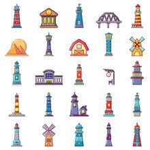Buildings Icon Set, Cartoon St...