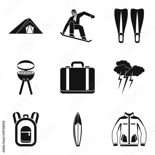 Fotografie, Obraz  Respite icons set, simple style