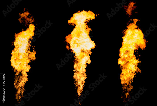 Fotobehang Vuur Set of three isolated fire pillars. Flame tongue goes from gas burner.