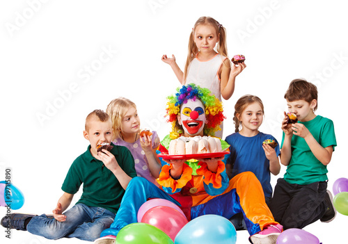 Birthday Child Clown Playing With Children Kid Holiday Cakes Celebratory In Hands Of Events Organizer