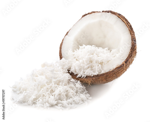 Nut with fresh coconut flakes on white background