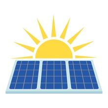 Solar Panel Icon, Flat Style