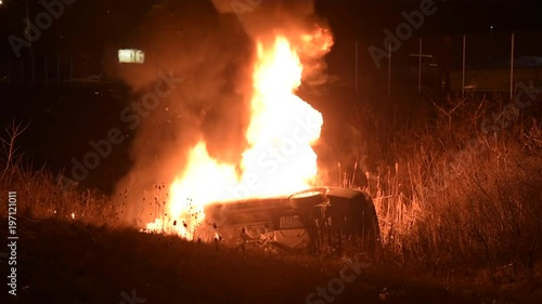 Rolled Over Vehicle On Fire Collision
