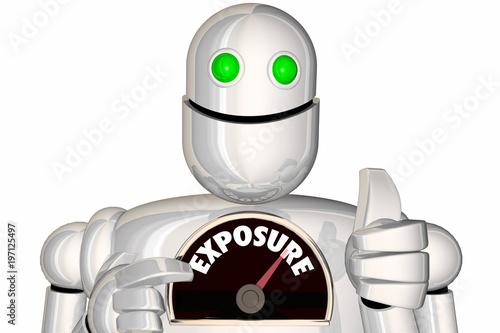 Fotografie, Obraz  Exposure Robot Gauge Level Rate Get Attention 3d Illustration