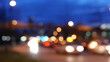 Blur motion of driving car in city at night with 4k resolution.