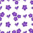 Seamless background with purple flowers. Vector illustration.