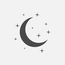 Half Moon With Stars Vector Icon