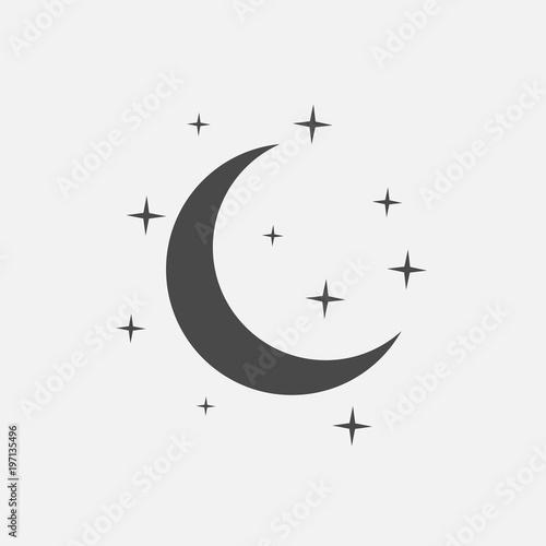 half moon with stars vector icon Fototapete
