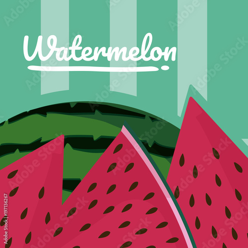 Poster Retro sign Watermelon sliced cartoon