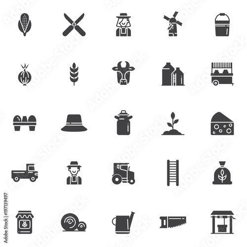 Agriculture Vector Icons Set Modern Solid Symbol Collection Filled