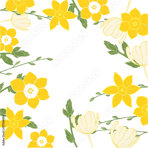 Vector floral  background with hand-drawn spring flowers. Tableau sur Toile