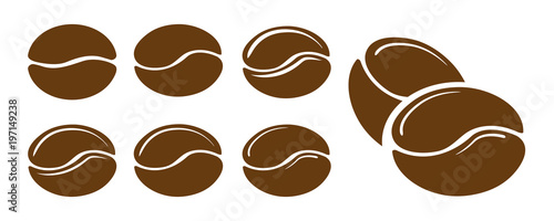 Set of coffee beans icons. Vector illustration. Fototapet