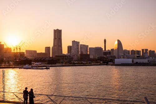 Fotobehang Praag 横浜みなとみらいの夕景