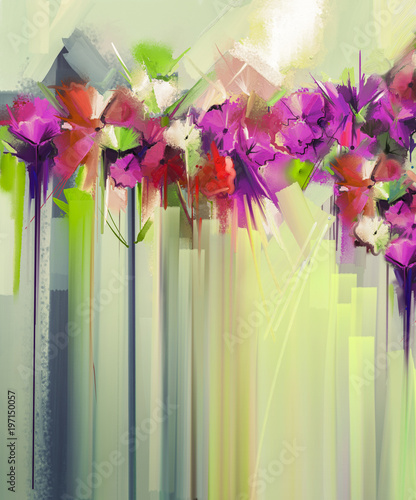 Wall Murals Green coral Abstract floral oil color painting. Hand painted violet and Red flowers in soft color. Flower paintings vintage style and yellow, green color background. Spring flower seasonal nature background