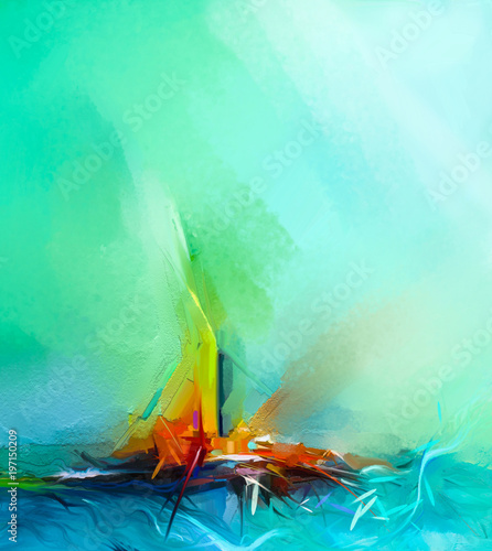 Wall Murals Green coral Abstract colorful oil painting on canvas texture. Semi- abstract image of landscape paintings background. Modern art oil paintings with green, red and blue. Abstract contemporary art for background