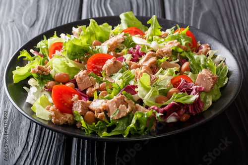 Mediterranean salad with tuna fish, borlotti beans, cherry tomatoes, lettuce close-up on a plate on the table. horizontal