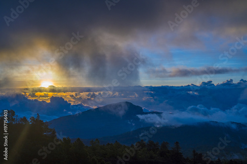 Foto op Aluminium Nachtblauw Mountains during sunset. Beautiful natural landscape in the summer time