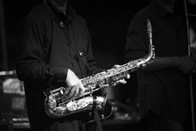 Black And White Saxophone Playing
