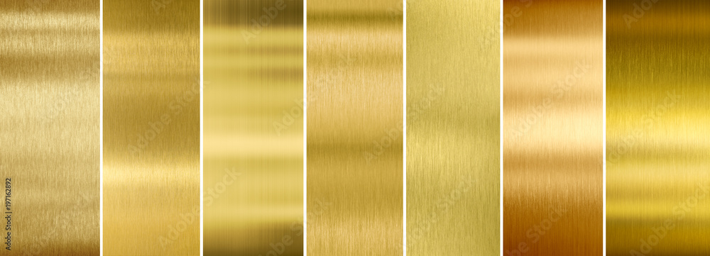 Fototapety, obrazy: Seven various brushed gold metal textures set