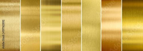 Fotografia Seven various brushed gold metal textures set