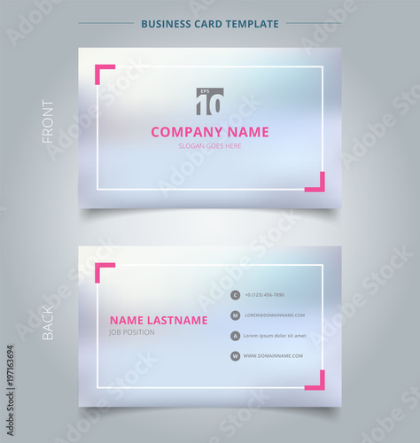 Creative business card and name card template blurred background creative business card and name card template blurred background with pink border abstract concept and flashek Choice Image