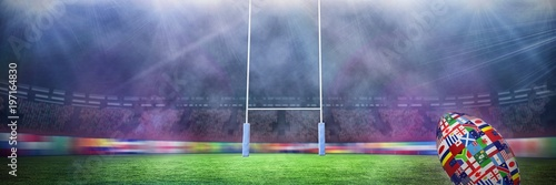 Obraz Composite image of rugby world cup international ball - fototapety do salonu