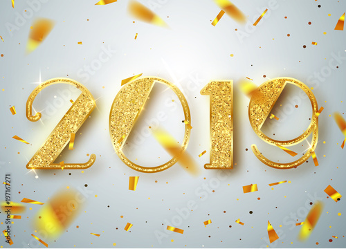 2019 Happy new year  Gold Numbers Design of greeting card of Falling