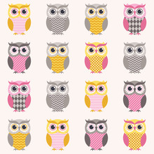 Seamless Owl Pattern Cartoon I...