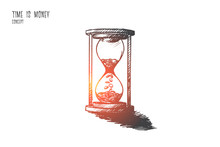 Time Is Money Concept. Hand Dr...