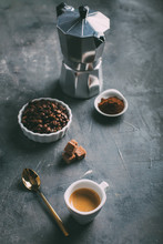 Coffee Cup With Coffee Beans A...