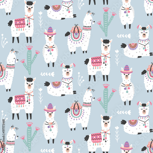 Stampa su Tela  Cartoon Llama Alpaca Seamless Pattern